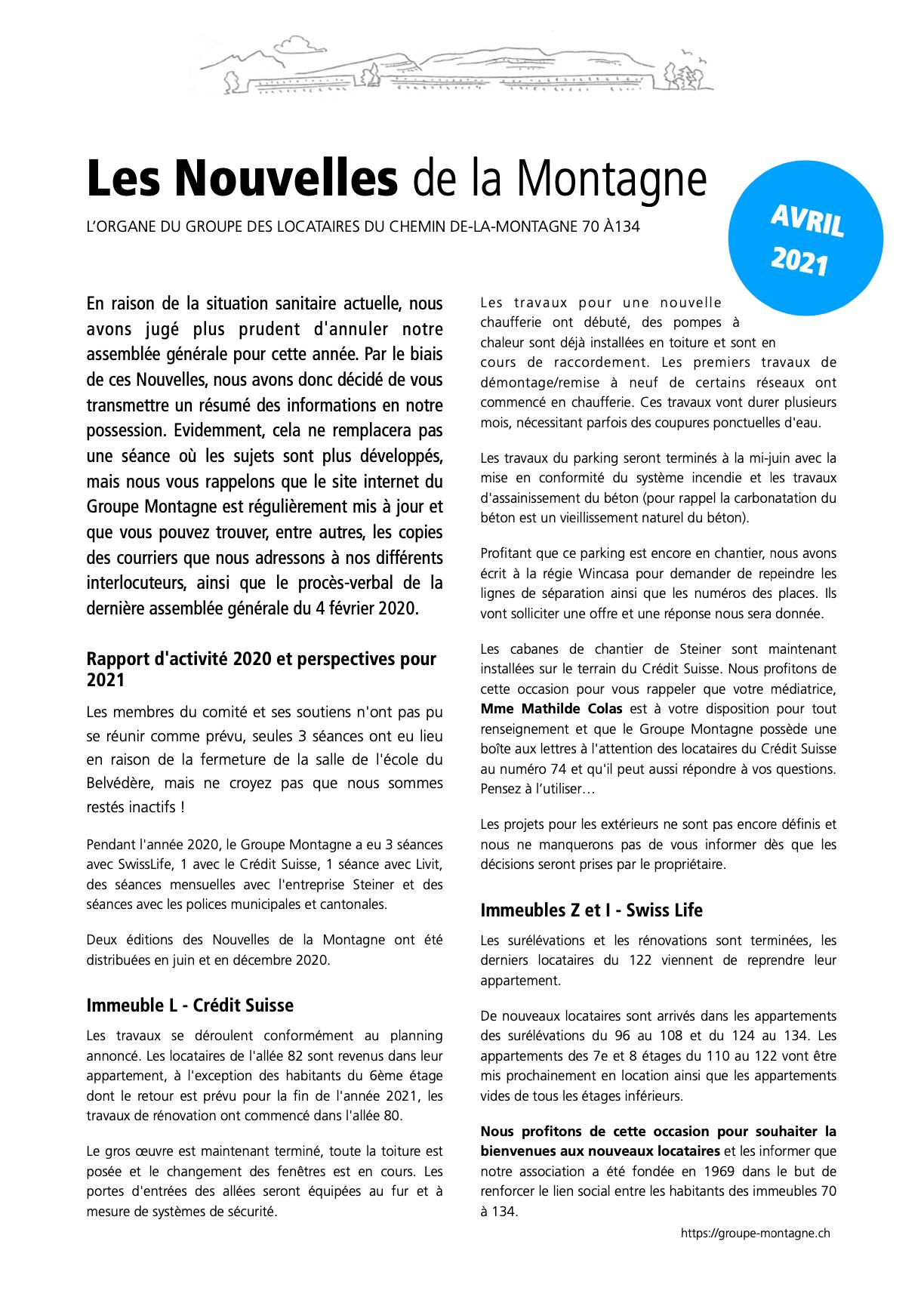 Nouvelles de la Montagne - Édition avril 2021